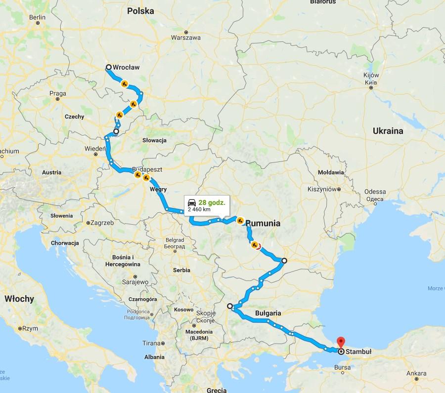 Schemat trasy pociągiem z Polski do Stambułu.