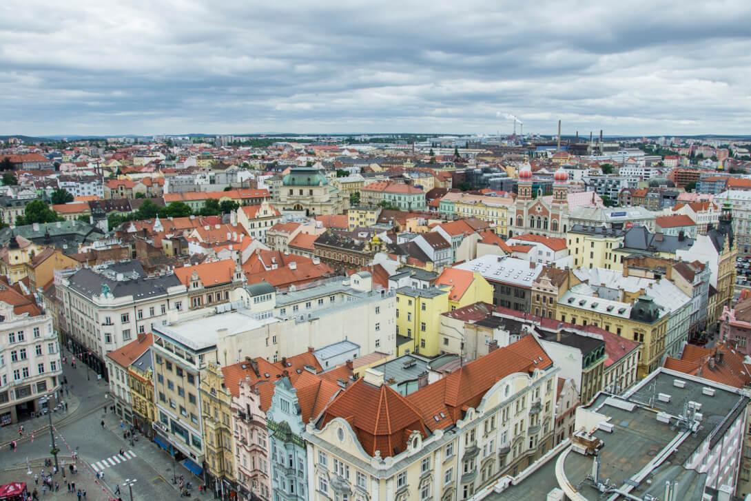 Widok z wieży widokowej katedry św. Bartłomieja - Pilzno