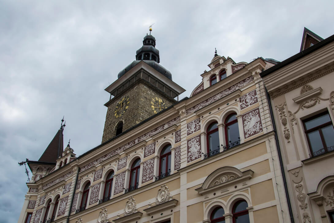 Zdobienia kamienic na rynku - Czeskie Budziejowice