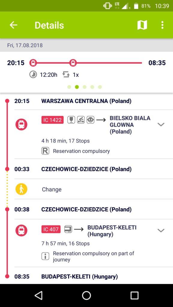 Zrzut ekranu (screenshot) aplikacji Rail Planner