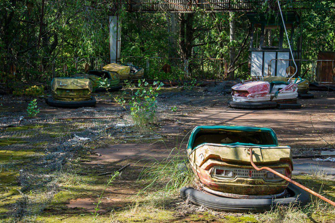 Samochodziki w parku rozrywki w Prypeci