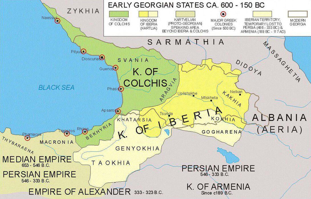 Mapa Gruzji z czasów starożytnych