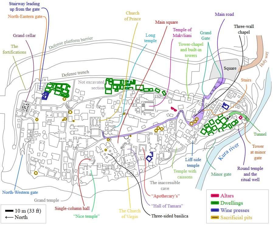 Plan skalnego miasta Uplisciche
