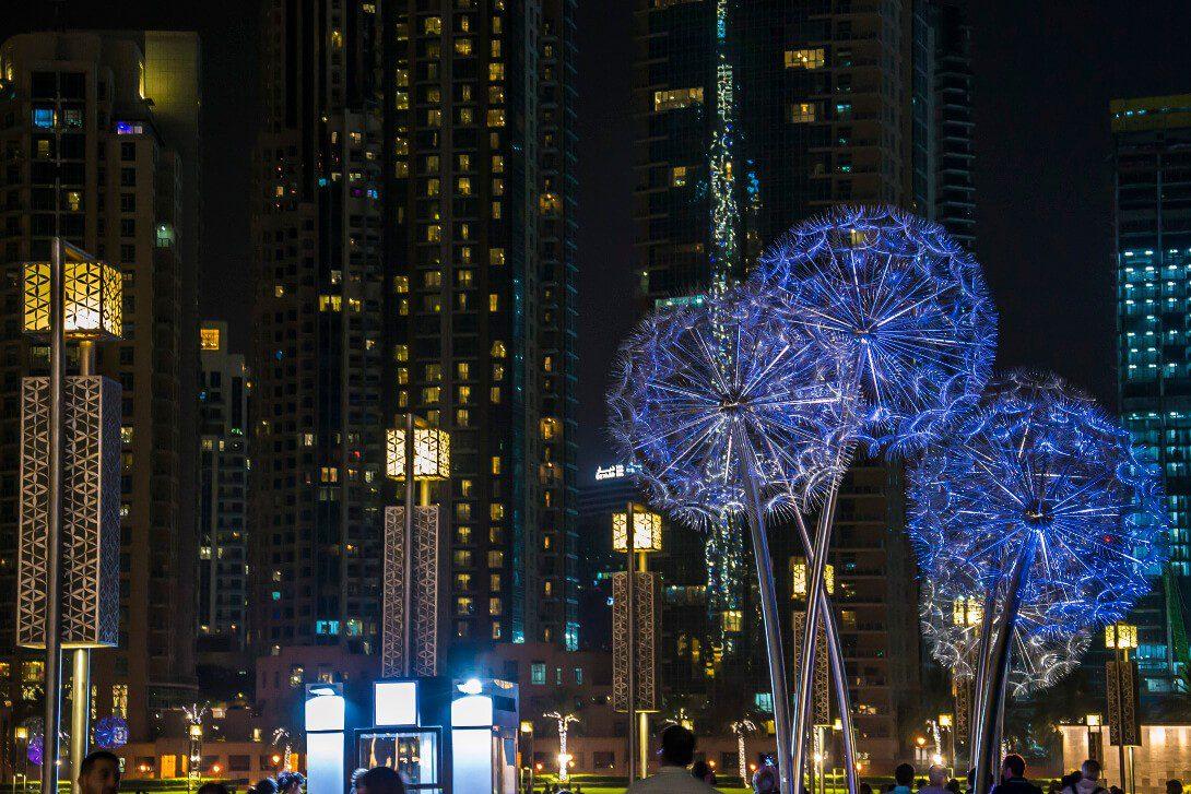Downtown Dubai wieczorem