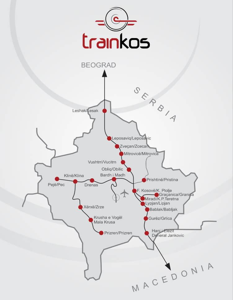 Sieć linii kolejowych w Kosowie