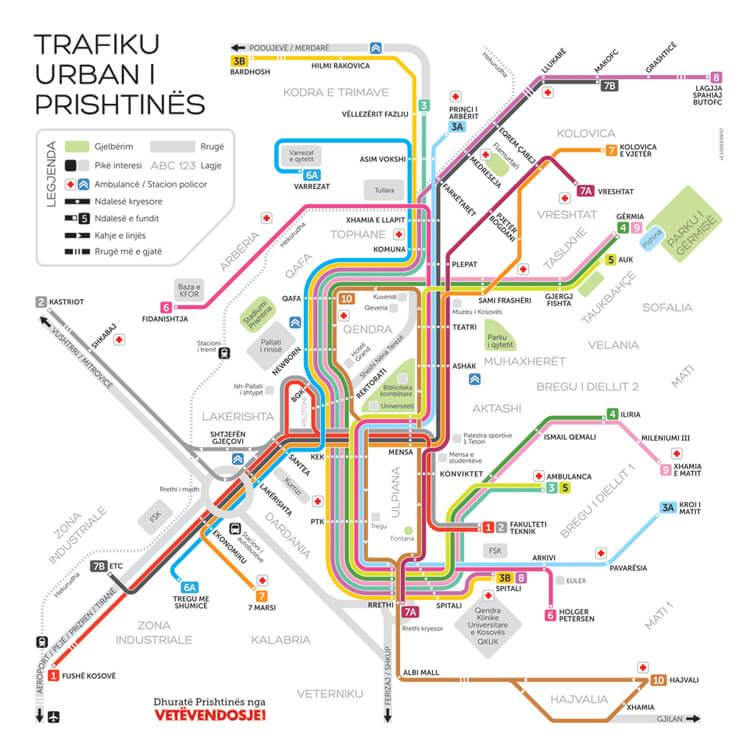 Schemat sieci miejskich autobusów w Prisztinie.