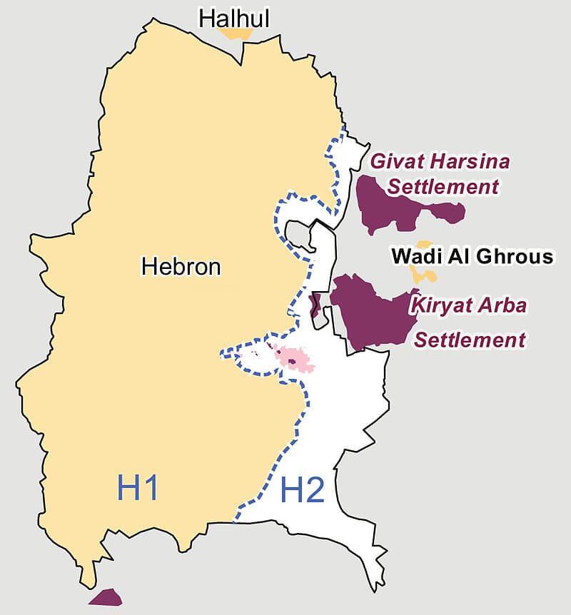 Hebron podzielony na część H1 i H2.