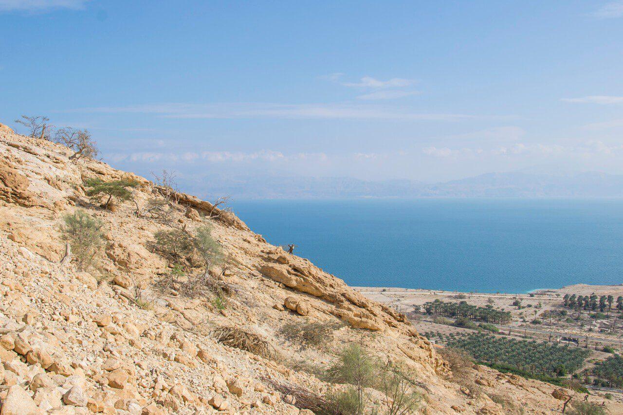 Widok na Morze Martwe i Jordanię.