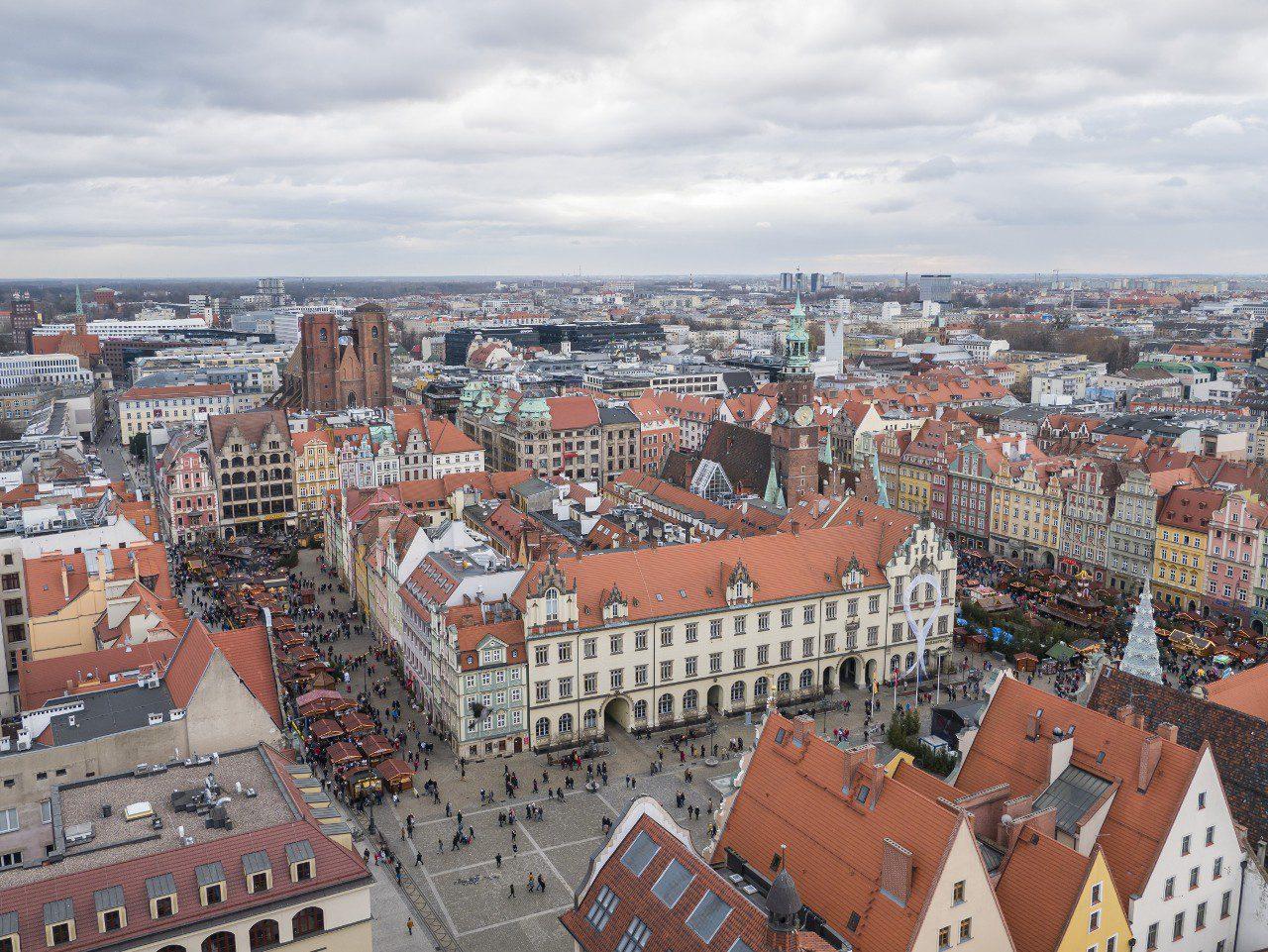 Widok na Rynek we Wrocławiu z punktu widokowego