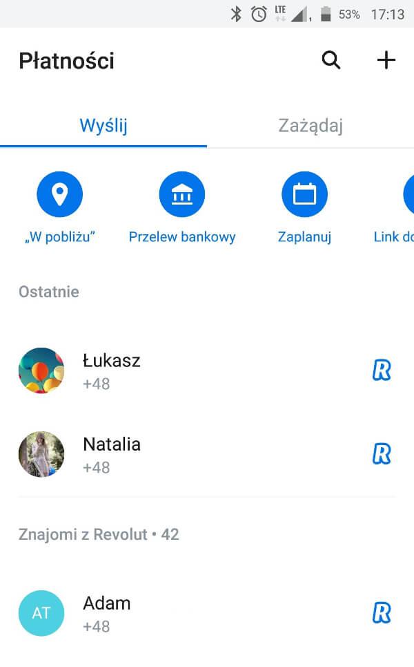Screen z aplikacji Revolut - ekran płatności