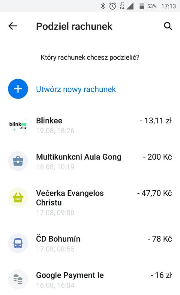 """Screen z aplikacji Revolut - funkcja """"Podziel rachunek"""""""