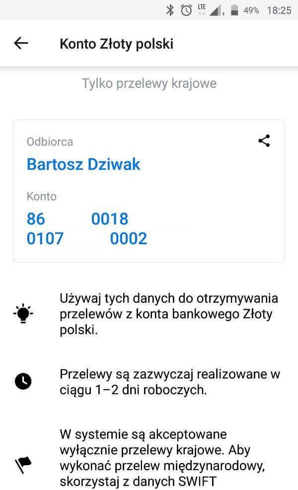 Screen z aplikacji Revolut - dane subkonta