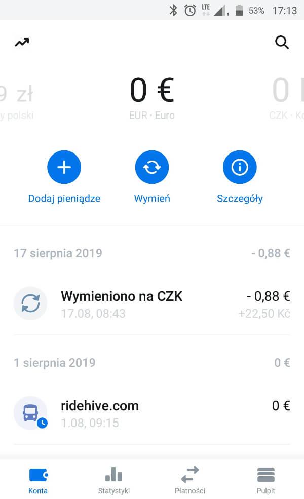 Screen z aplikacji Revolut - subkonto w EUR