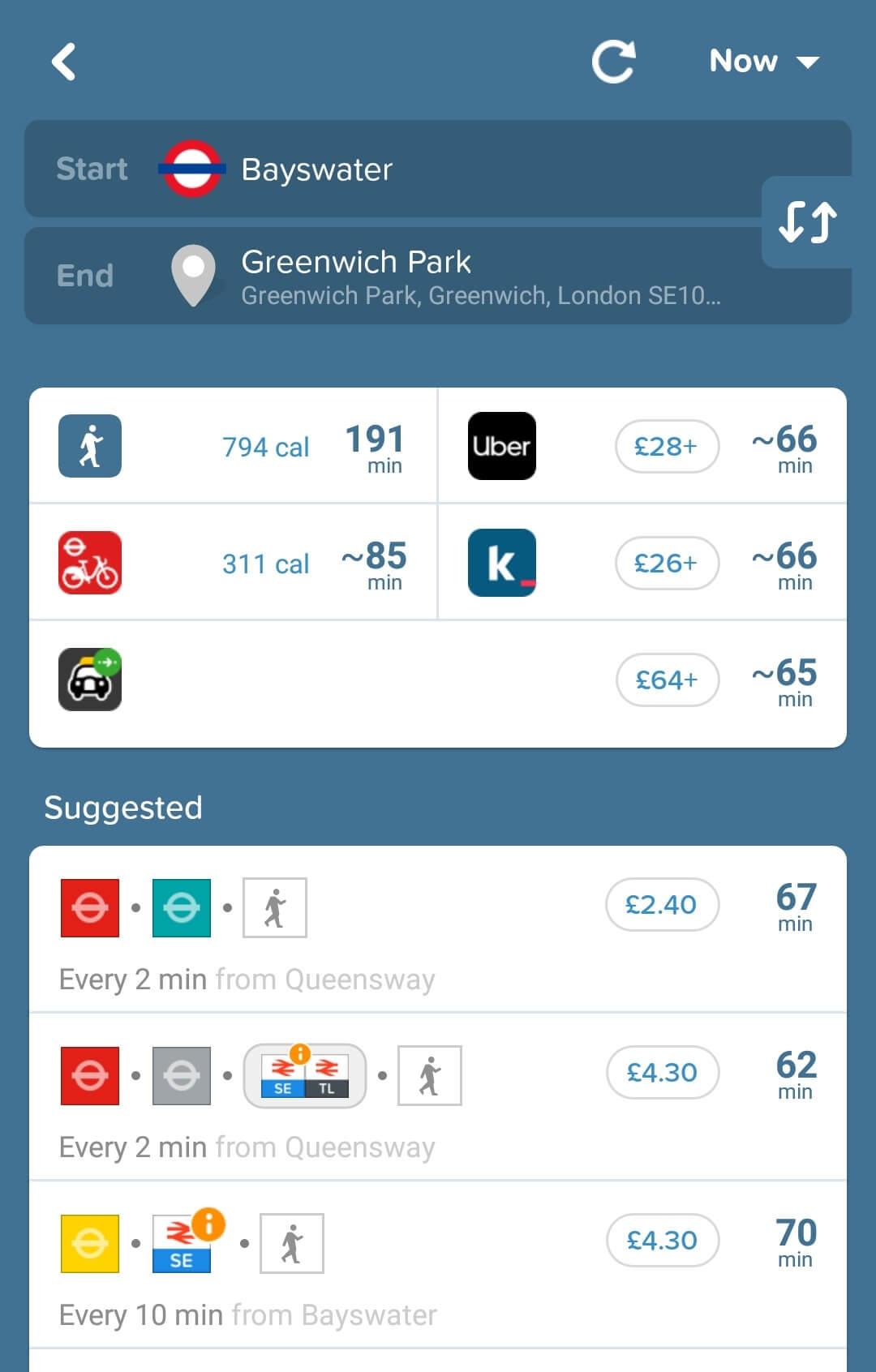 Aplikacje dla podróżników - screen z Citymapper #3