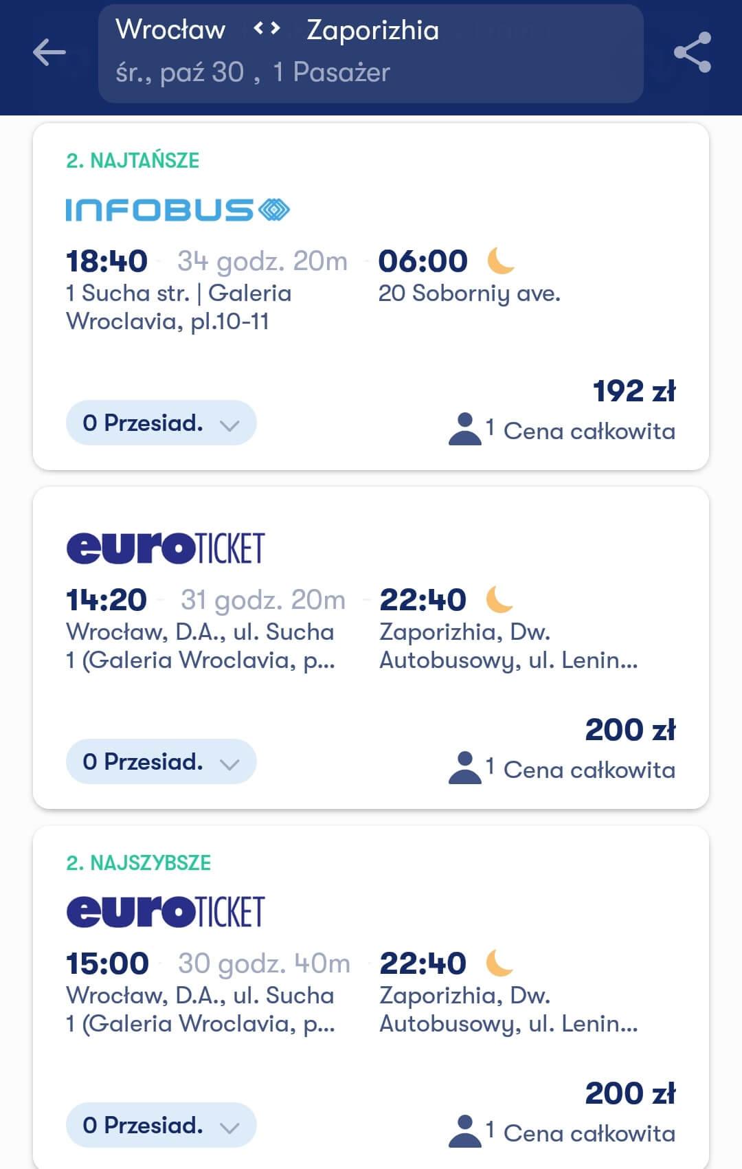 Aplikacje dla podróżników - screen z Omio #3