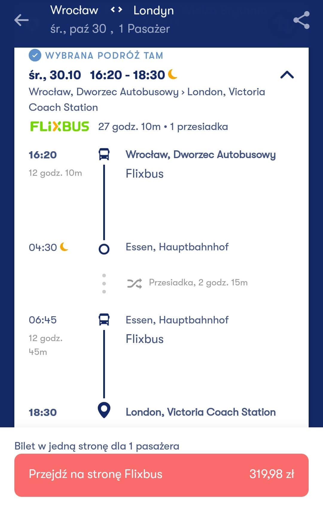 Aplikacje dla podróżników - screen z Omio #1