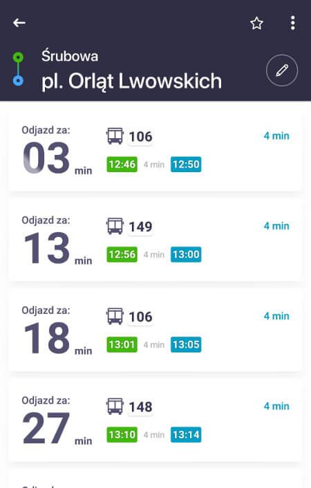 Aplikacje dla podróżników - screen z Jakdojade.pl #1