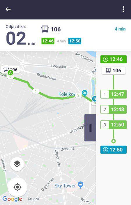 Aplikacje dla podróżników - screen z Jakdojade.pl #3