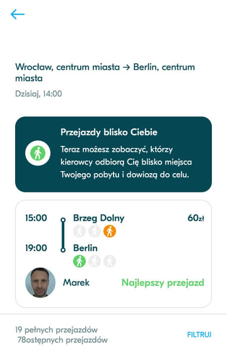 Aplikacje dla podróżników - screen z BlaBlaCar #1