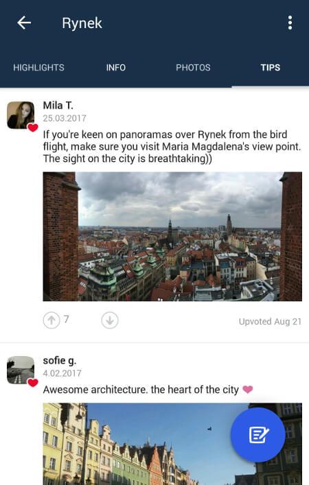 Aplikacje dla podróżników - screen z Foursquare #3