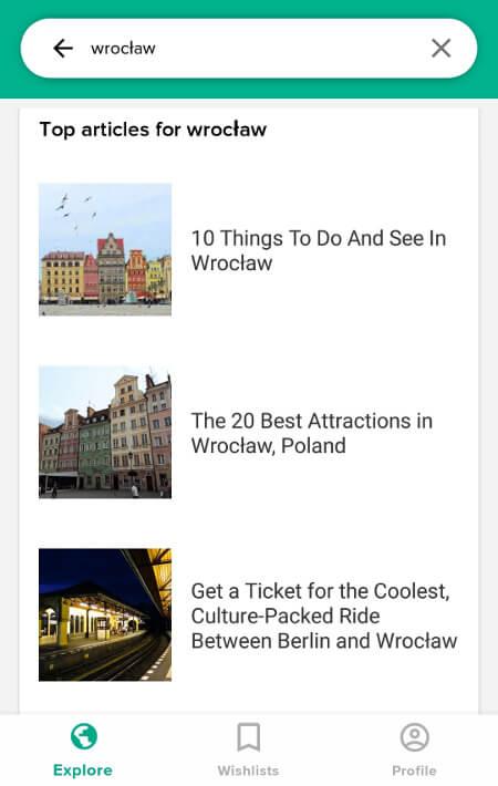 Aplikacje dla podróżników - screen z Culture Trip #1