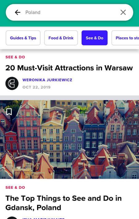 Aplikacje dla podróżników - screen z Culture Trip #3