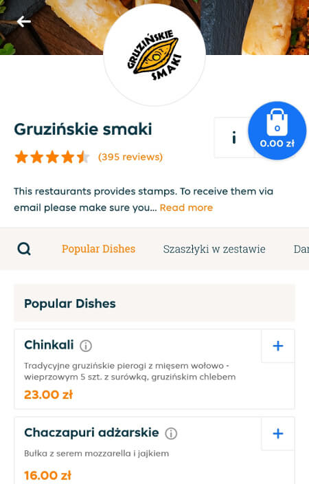 Aplikacje dla podróżników - screen z Pyszne.pl #3
