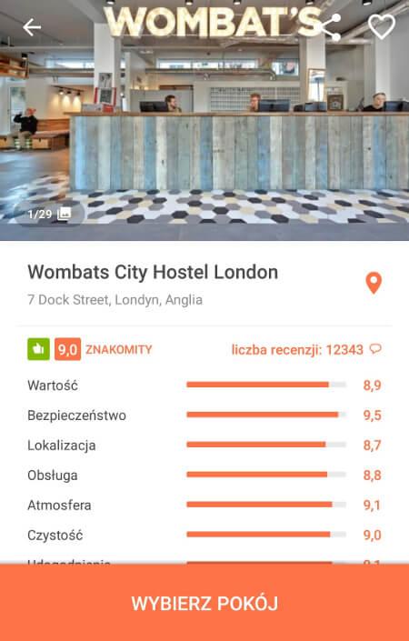 Aplikacje dla podróżników - screen z Hostelworld #3