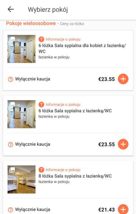 Aplikacje dla podróżników - screen z Hostelworld #1
