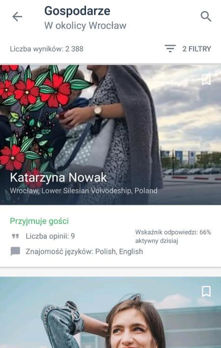 Aplikacje dla podróżników - screen z Couchsurfing #3