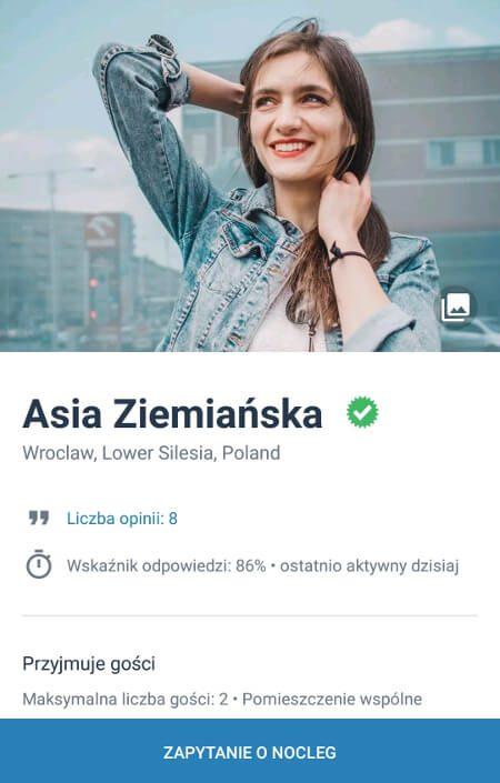 Aplikacje dla podróżników - screen z Couchsurfing #1