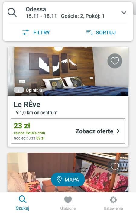 Aplikacje dla podróżników - screen z Trivago #3