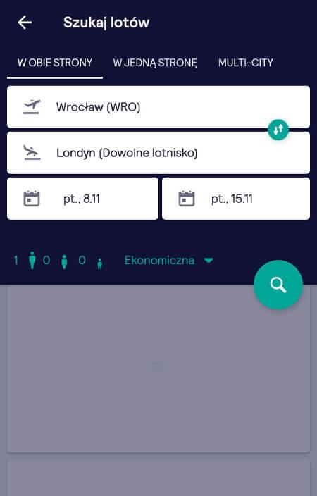 Aplikacje dla podróżników - screen z Skyscanner #3