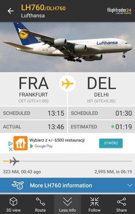 Screen z Flightradar24 #2