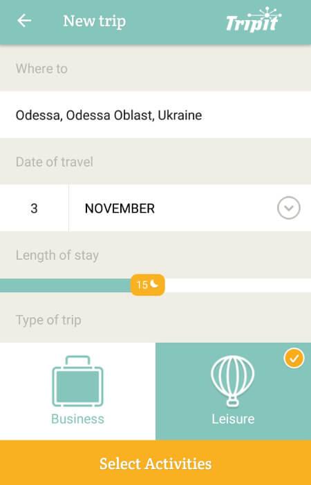 Aplikacje dla podróżników - screen z PackPoint #3