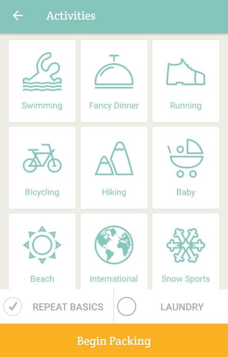 Aplikacje dla podróżników - screen z PackPoint #1