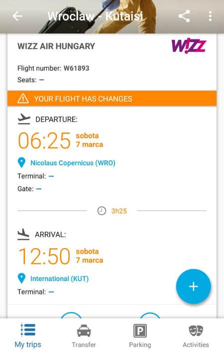 Aplikacje dla podróżników - screen z CheckMyTrip #3