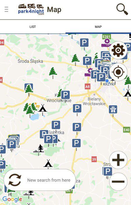 Aplikacje dla podróżników - screen z Park4night #3