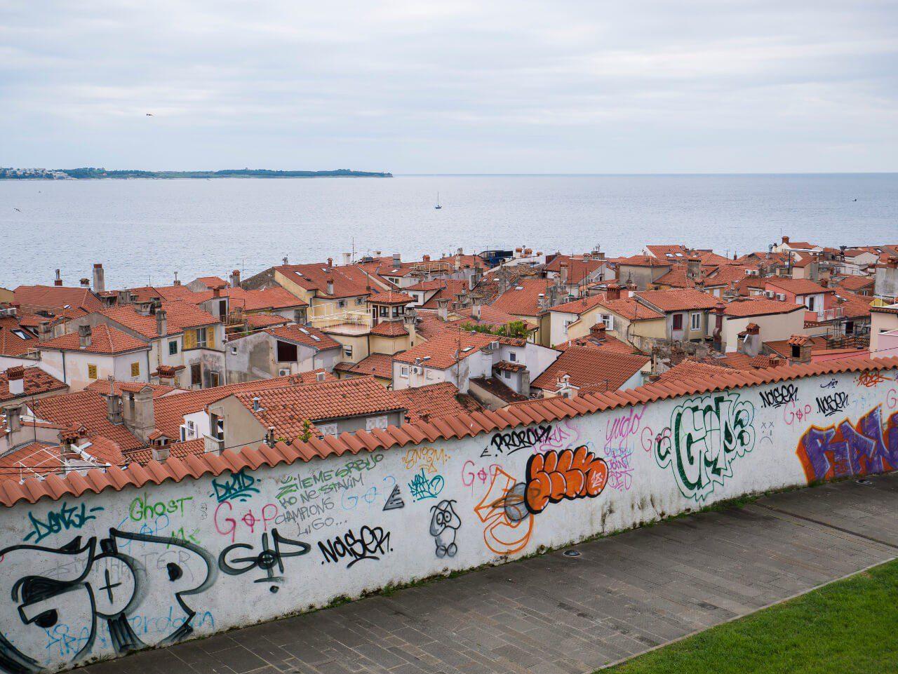 Zwarta zabudowa miasteczka Piran (Słowenia)