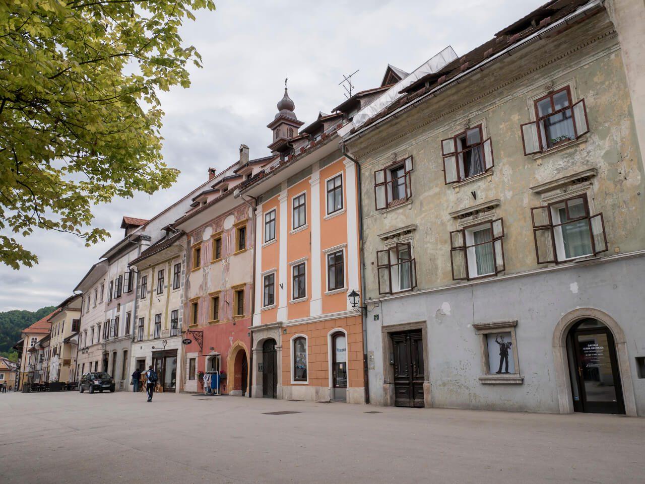 Kamienice w mieście Skofja Loka