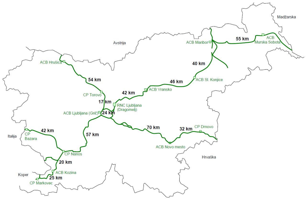 Mapa z siecią słoweńskich dróg, na których obowiązuje winieta