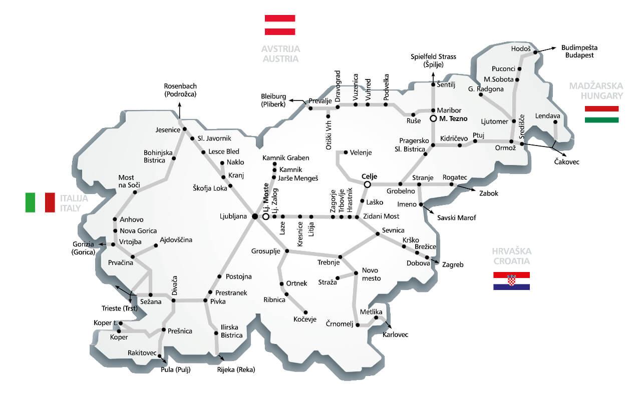 Plan sieci kolejowej w Słowenii
