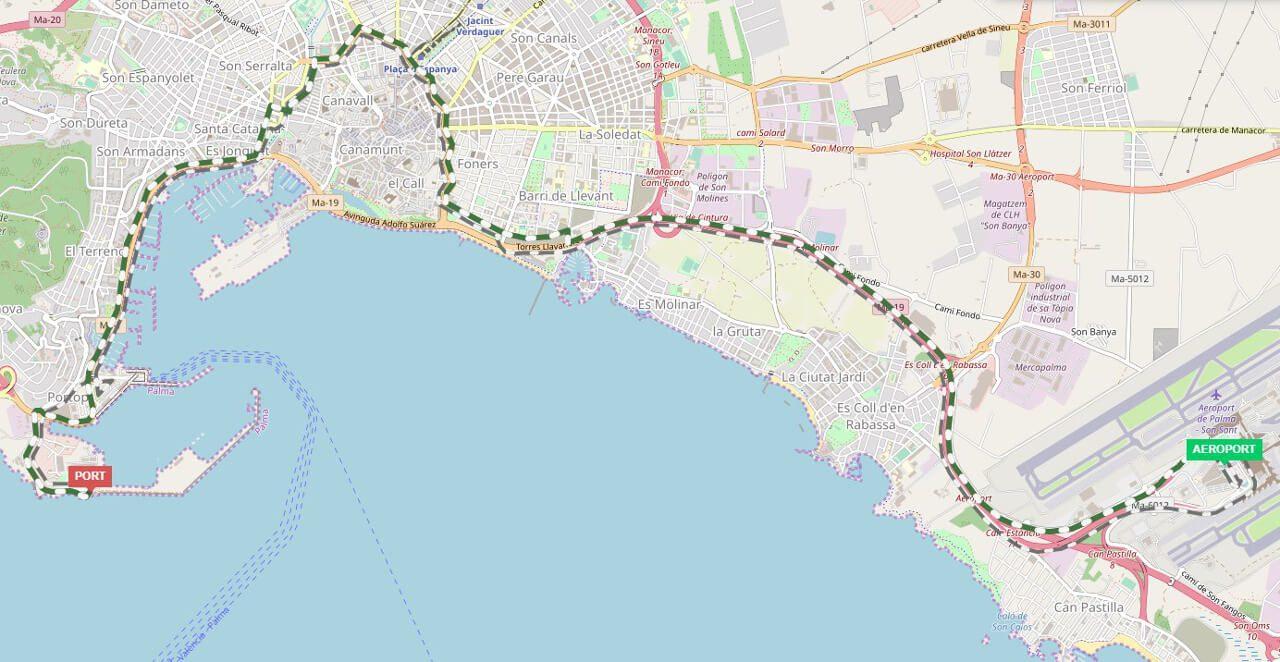 Trasa miejskiego autobusu nr 1 w Palma de Mallorca