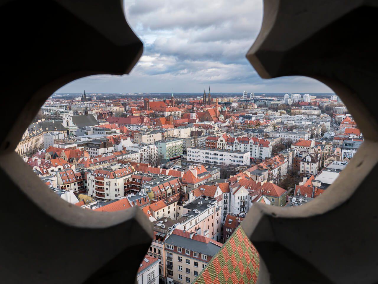 Widok na Wrocław z punktu widokowego