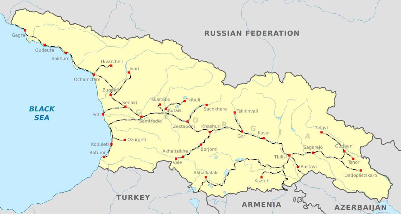 Mapa sieci kolejowej Gruzji