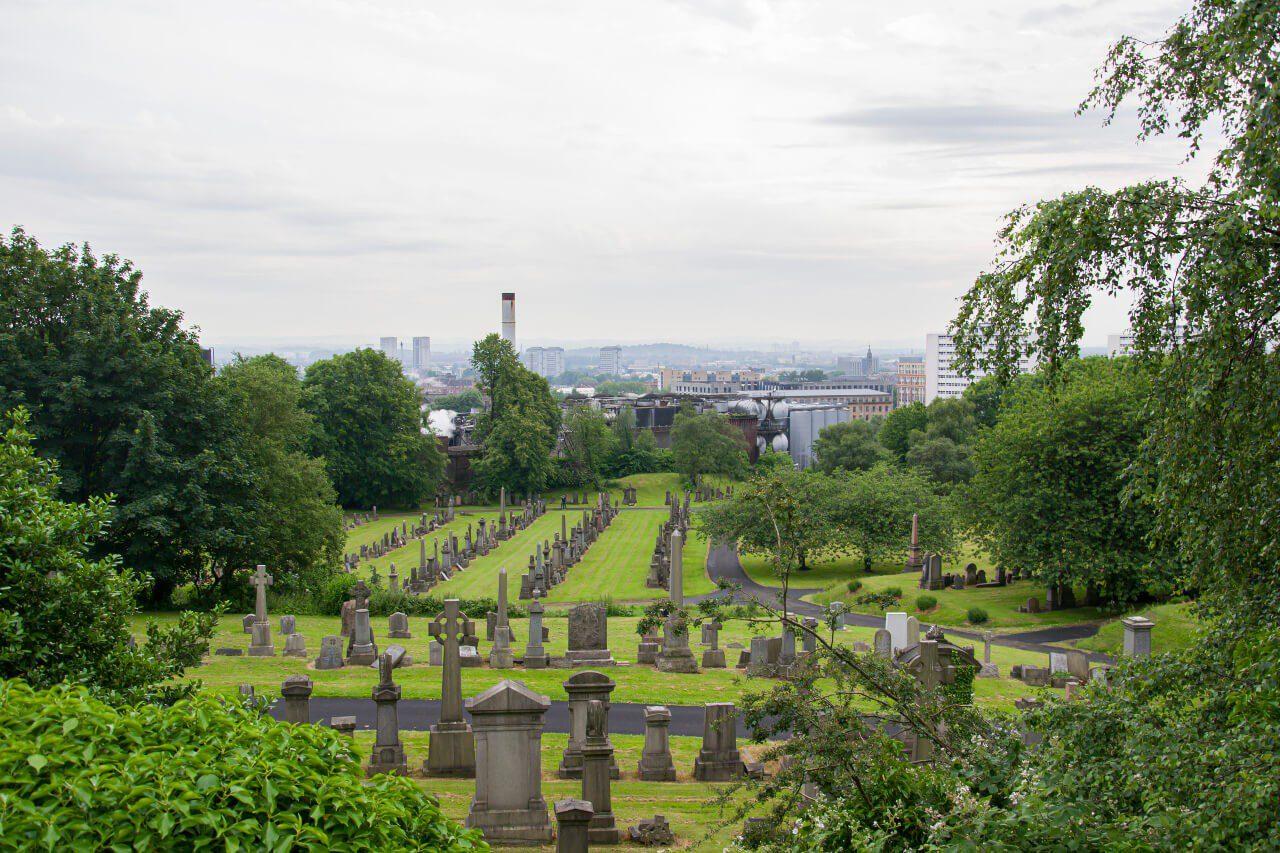 Cmentarz z Glasgow widziany z góry