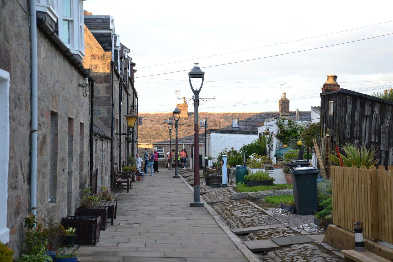 Budynki wioski rybackiej Footdee w Aberdeen