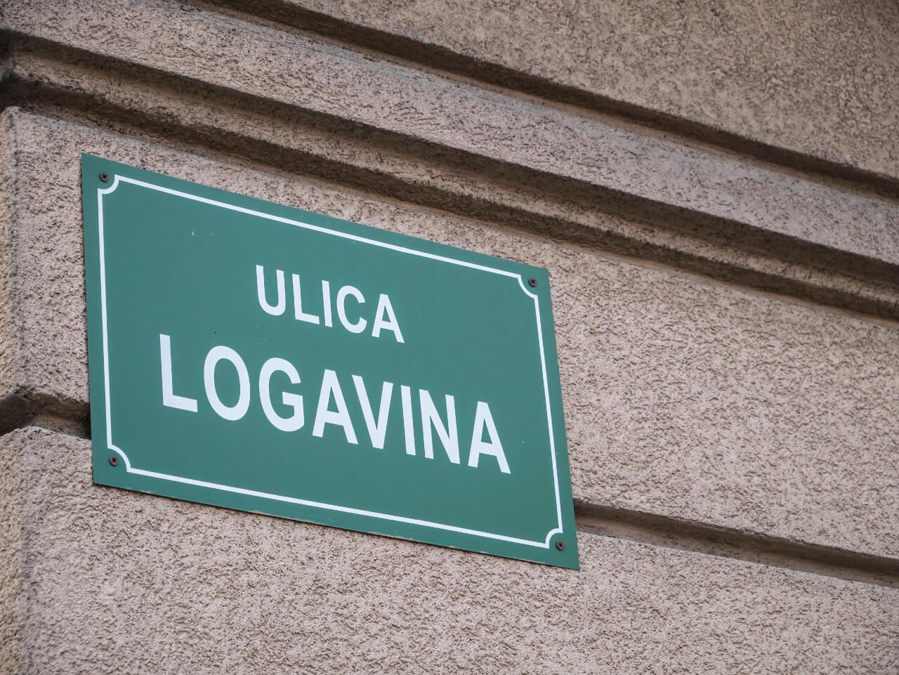 Tabliczka z nazwą ulicy Logavina w Sarajewie