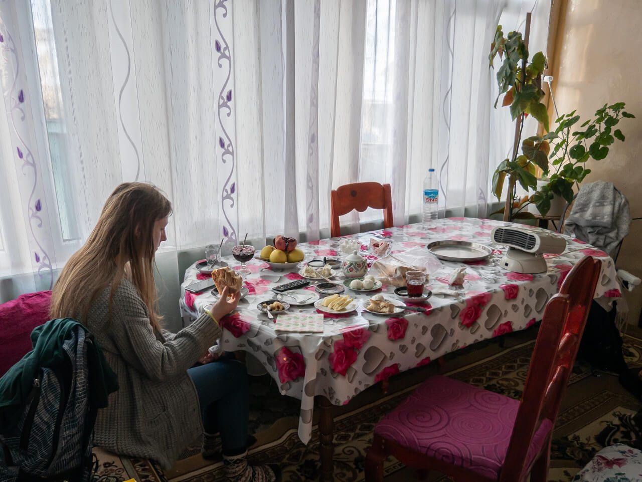 Śniadanie w domu w Xinaliq