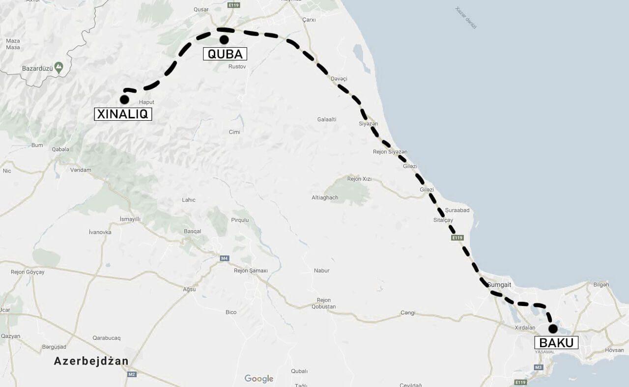 Mapa trasy z Baku do Xinaliq przez Qubę